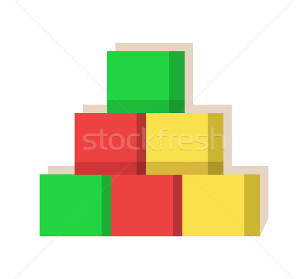 Cubes Multi Colored Factory Vector Illustration Stock photo © robuart