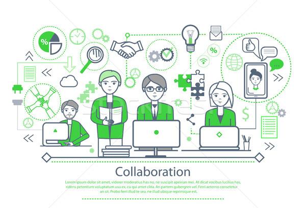 Collaboration affiche texte échantillon personnes travaillant ordinateurs Photo stock © robuart
