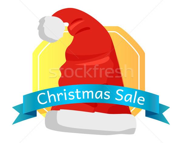 Christmas Sale Emblem Santas Hat with Pompom Icon Stock photo © robuart