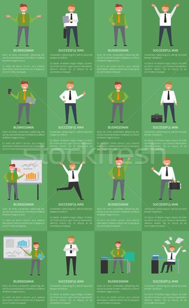 On altı simgeler işadamı ayarlamak posterler etkinlik Stok fotoğraf © robuart