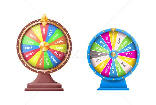 Wiel geluk wielen automatisch gokken ingesteld Stockfoto © robuart