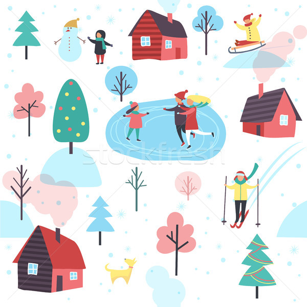 Winter Pattern with People and Cottage Houses Stock photo © robuart