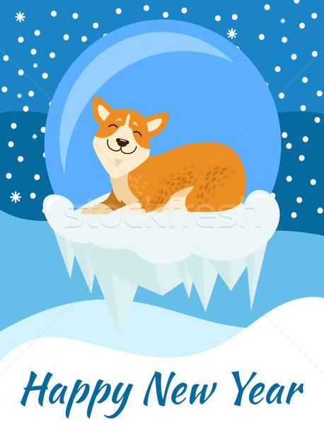 Buon anno congratulazione poster blu coperto cadere Foto d'archivio © robuart