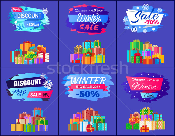 Best Discount Winter Sale Posters Set Promo Labels Stock photo © robuart