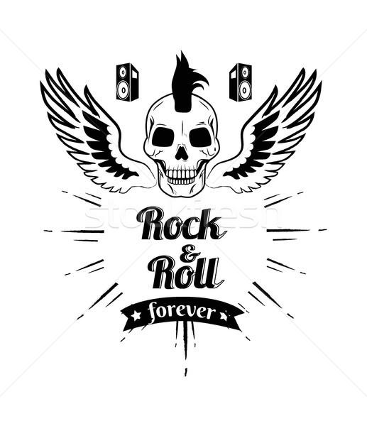 Rocha rolar para sempre crânio imagem punk Foto stock © robuart