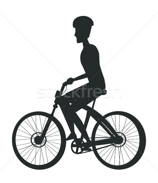 Person Riding Bike in Cap, Sport Biking Transport Stock photo © robuart