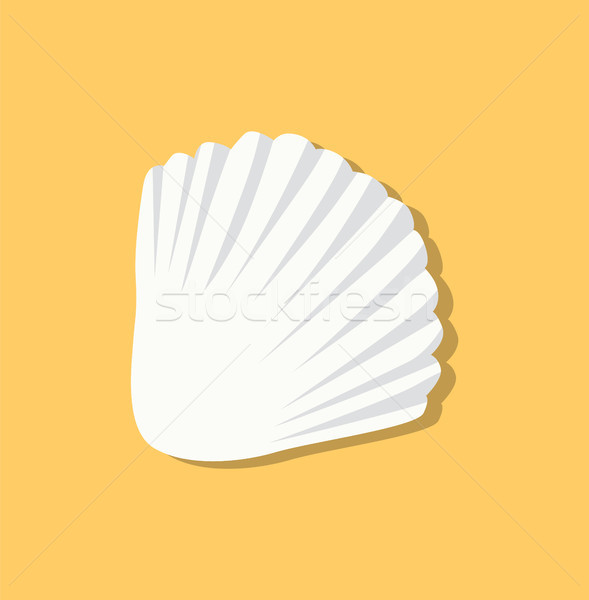 Cute White Seashell Isolated on Yellow Background Stock photo © robuart
