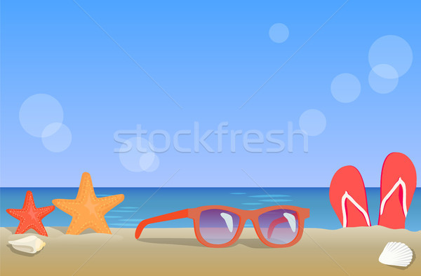 Ocean Coast View, Summer Landscape Colorful Poster Stock photo © robuart
