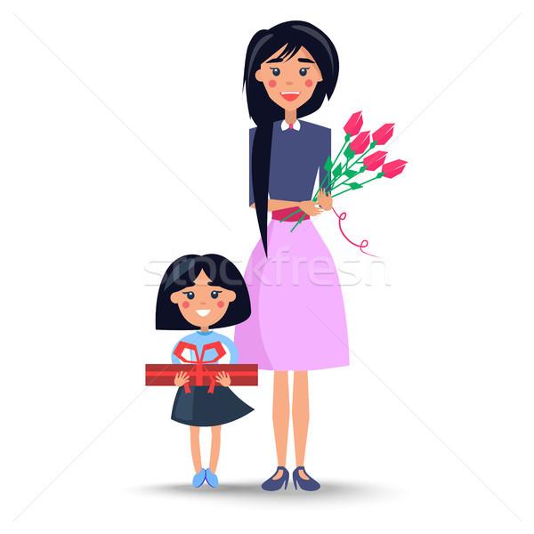 Maman fille félicitations femmes jour élégante Photo stock © robuart