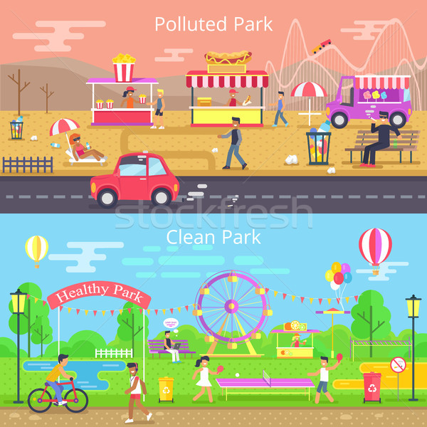 Polluted and Clean Park Set Vector Illustration Stock photo © robuart