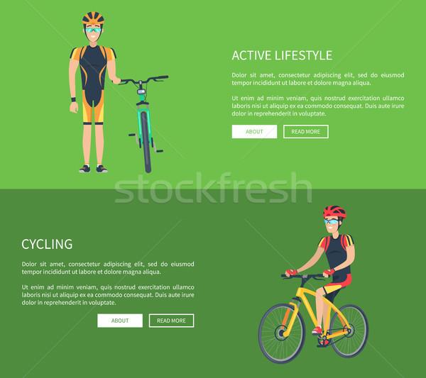 Aktif yaşam tarzı bisiklete binme ayarlamak web Stok fotoğraf © robuart