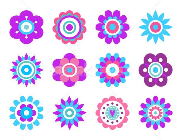 Geometric Shape Flowers Made of Simple Circles Stock photo © robuart