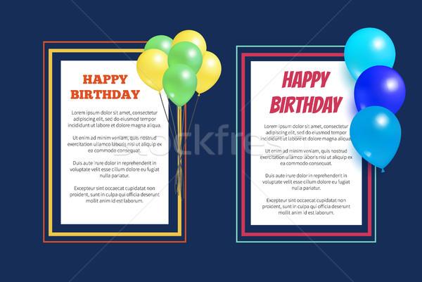 Joyeux anniversaire accueil cartes carré cadre ballon Photo stock © robuart