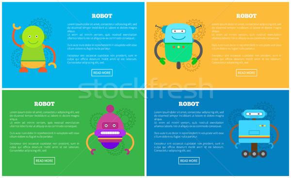 Meccanica robot divertente facce promo manifesti Foto d'archivio © robuart