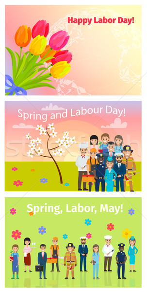 Three Horizontal Cards of Spring, Labor Day in May Stock photo © robuart