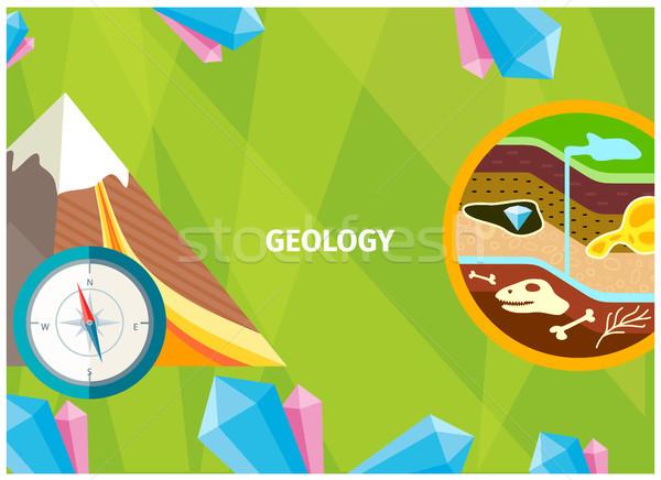 Banner geologie wetenschap aarde een fundamenteel Stockfoto © robuart