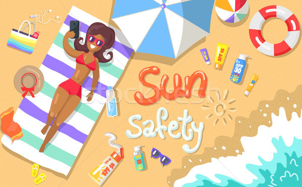 Sun Safety Poster Depicting Woman at Seaside Stock photo © robuart