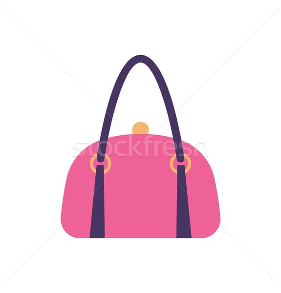 Vrouwen roze leder handtas Maakt een reservekopie behandelen Stockfoto © robuart