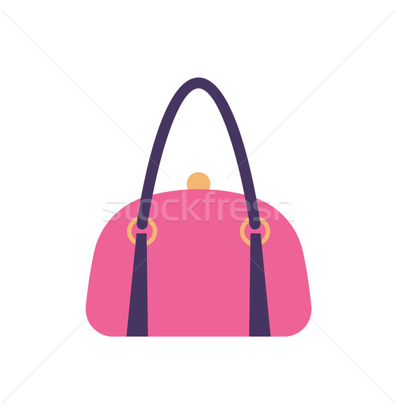 Women Pink Leather Handbag Back Handle and Clips Stock photo © robuart
