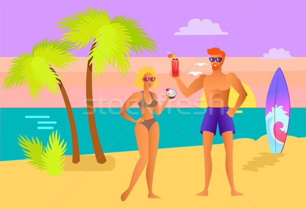 Suntanned Girl and Guy with Cocktails on Beach Stock photo © robuart
