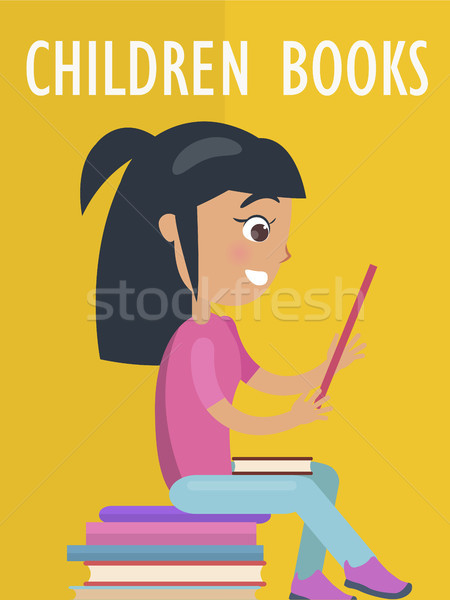Children Books Poster with Girl and Textbooks Stock photo © robuart