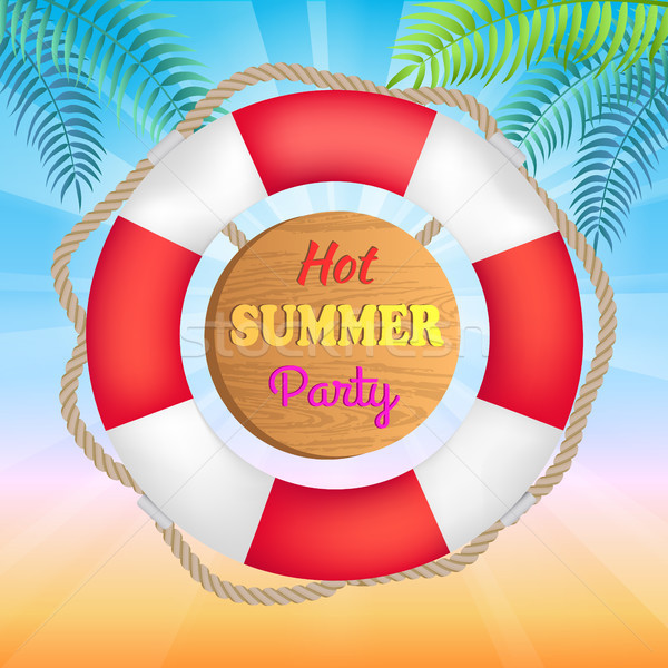 Hot Summer Party Promotional Banner with Lifebuoy Stock photo © robuart