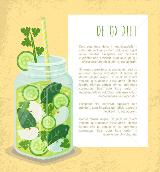 Detox Diet Poster Jar of Refreshing Drink Text Stock photo © robuart