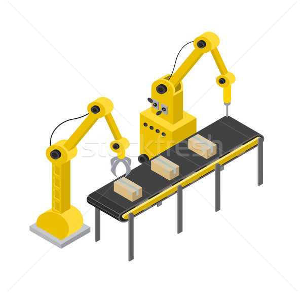 Box Production Line and Tools Vector Illustration Stock photo © robuart