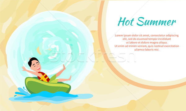 Hot Summer Poster with Boy Riding on Donut Vector Stock photo © robuart
