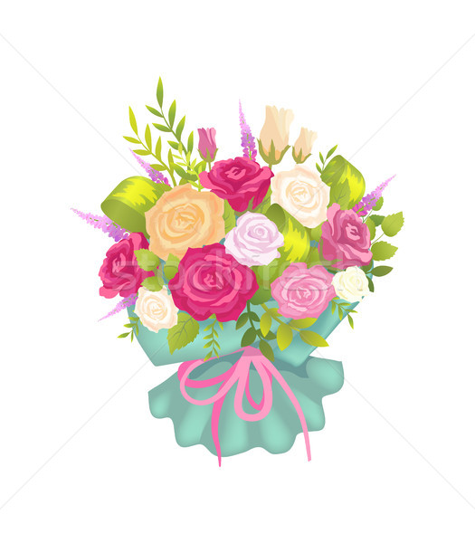 Elegance Bunch with Varied Color Roses and Lilac Stock photo © robuart