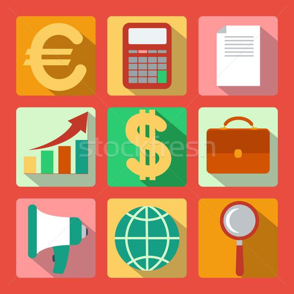 Set of 9 analysis, marketing colorful square icons Stock photo © robuart