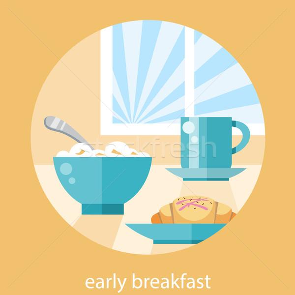 Desayuno tiempo taza de café placa cookies mesa Foto stock © robuart