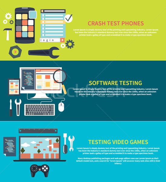 Software-ul Jocuri Telefoane prăbuşi testarea dezvoltare Imagine de stoc © robuart