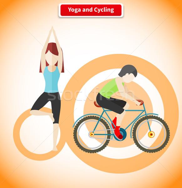 йога Велоспорт спорт дизайна медитации фитнес Сток-фото © robuart