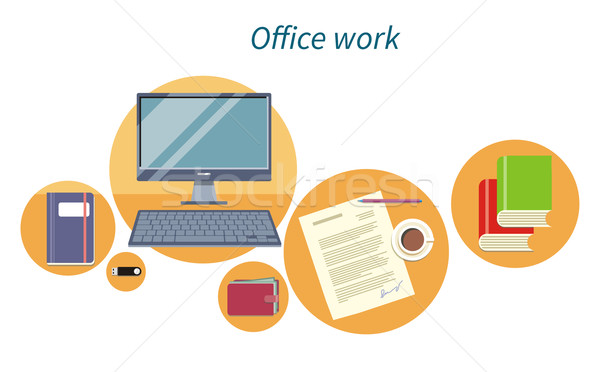 Kantoorwerk ontwerp icon document computer business Stockfoto © robuart