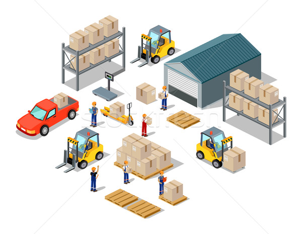 Stock photo: Icon 3d Isometric Process of the Warehouse