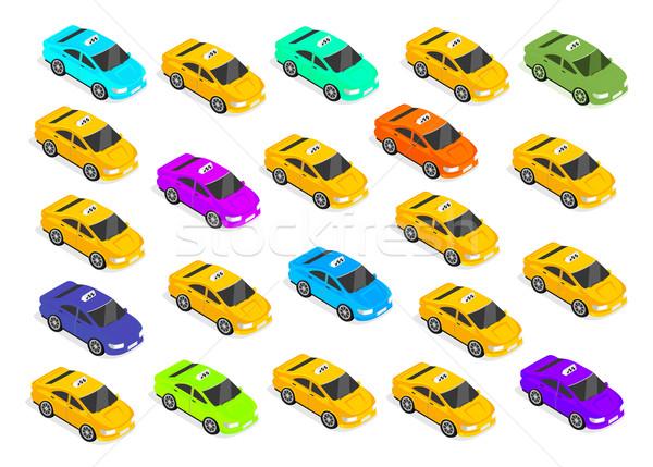 Flat 3d Isometric Car Taxi Stock photo © robuart