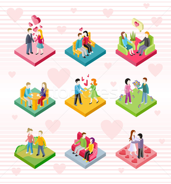 Isometric Happy Valentine Day Couple Set Stock photo © robuart