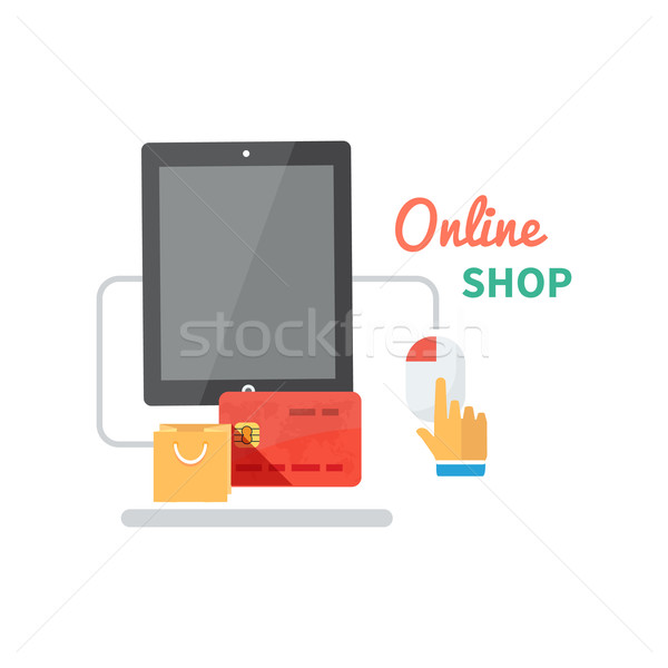Shopping online ecommerce web pagamento buy shop Foto d'archivio © robuart