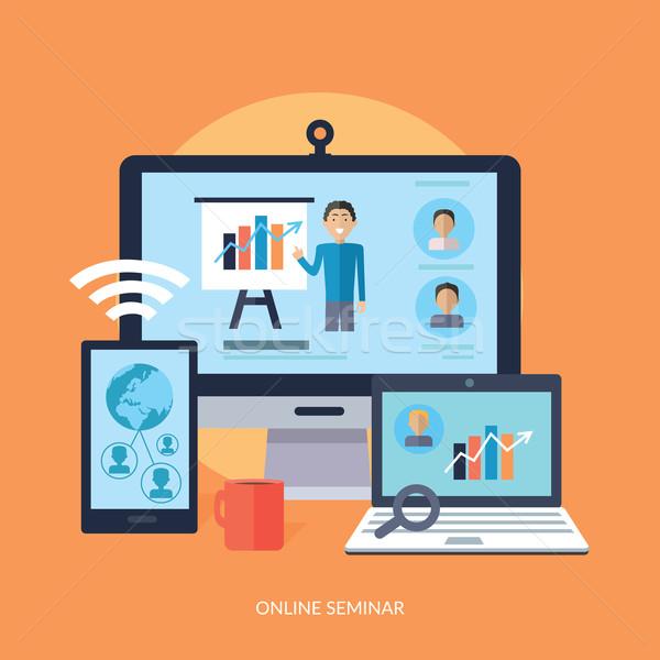Działalności online seminarium szkolenia pracowników odprawa Zdjęcia stock © robuart