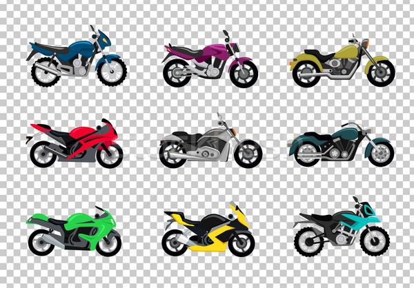 Ayarlamak motosiklet dizayn stil motosiklet bisiklet Stok fotoğraf © robuart