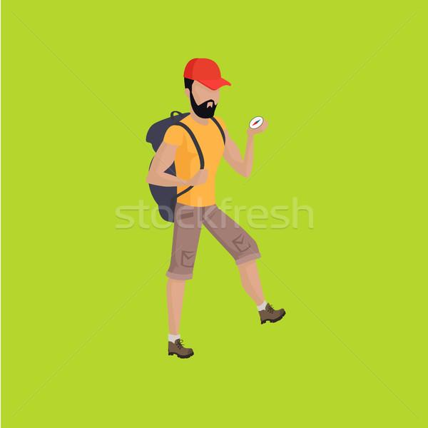 Wandelaar reiziger wandelen rugzak illustratie man Stockfoto © robuart