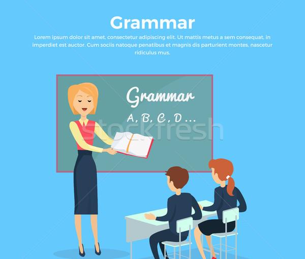 Grammatica onderwijs illustratie kinderen banner ontwerp Stockfoto © robuart