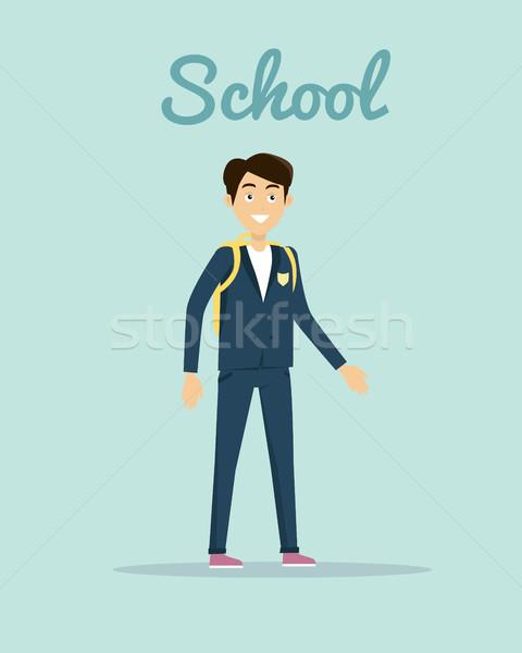 Iskola stílus terv mosolyog fiú iskolai egyenruha Stock fotó © robuart