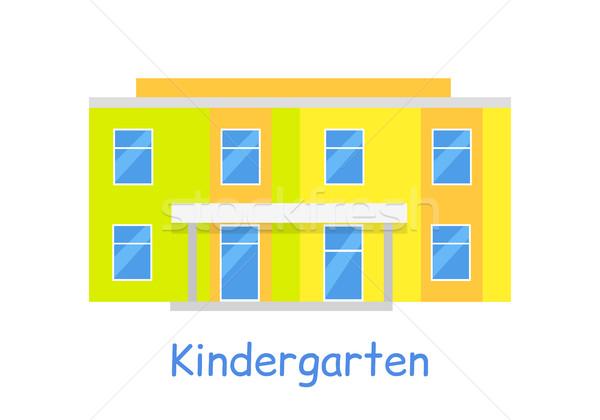 Kindergarten Building Isolated on White Stock photo © robuart
