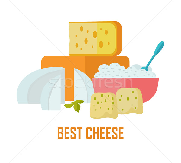 Best cheese banner. Natural Farm Food. Stock photo © robuart