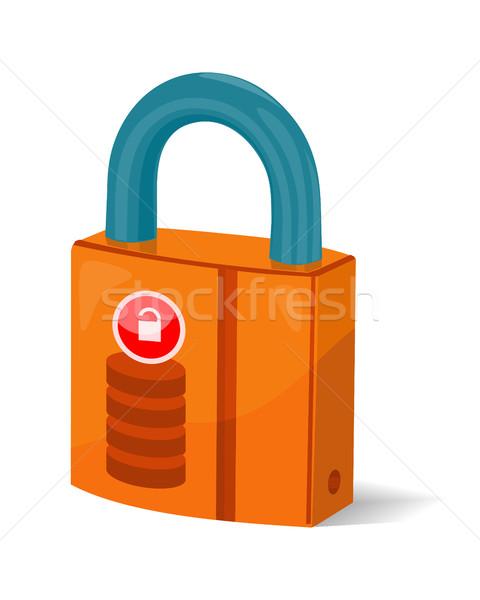 Adattárolás felirat szimbólum ikon zár izolált Stock fotó © robuart