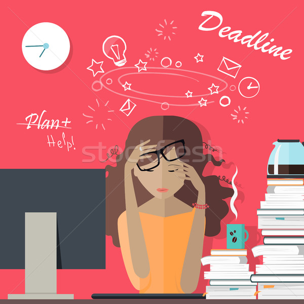 Stock photo: Woman Tired at Work. Deadline. A Lot of Work to Do.