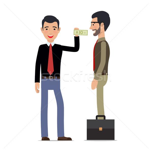 Stock foto: Zwei · Männer · Erzeugnis · weiß · Transaktion · weißen · Mannes · Geld