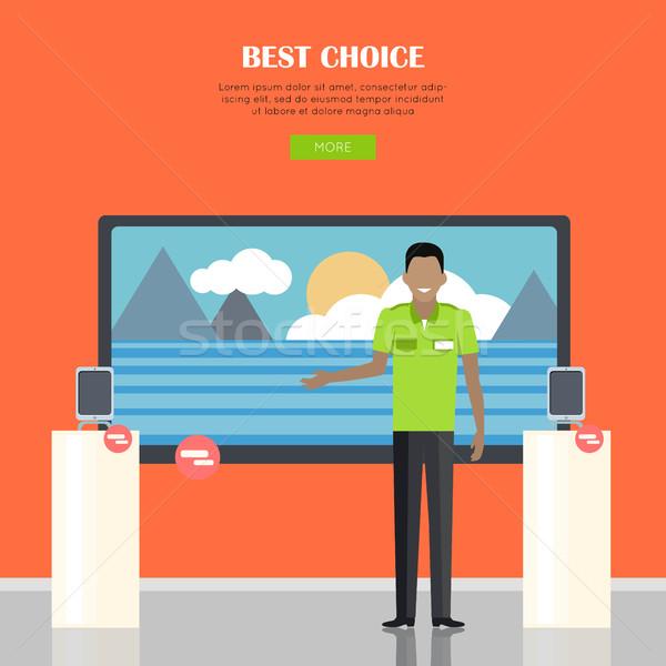 En İyi seçim gülen adam yeşil gömlek ayakta Stok fotoğraf © robuart